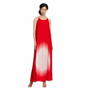 French Connection 100% silk red maxi dress size xs
